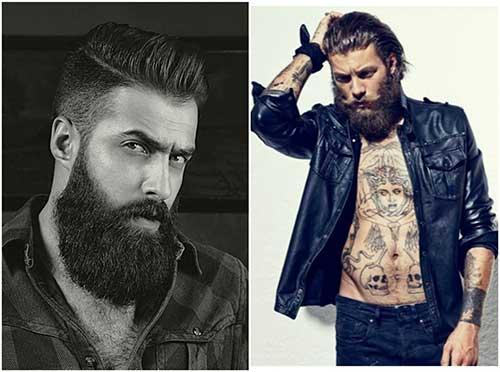 hombres de barbas largas